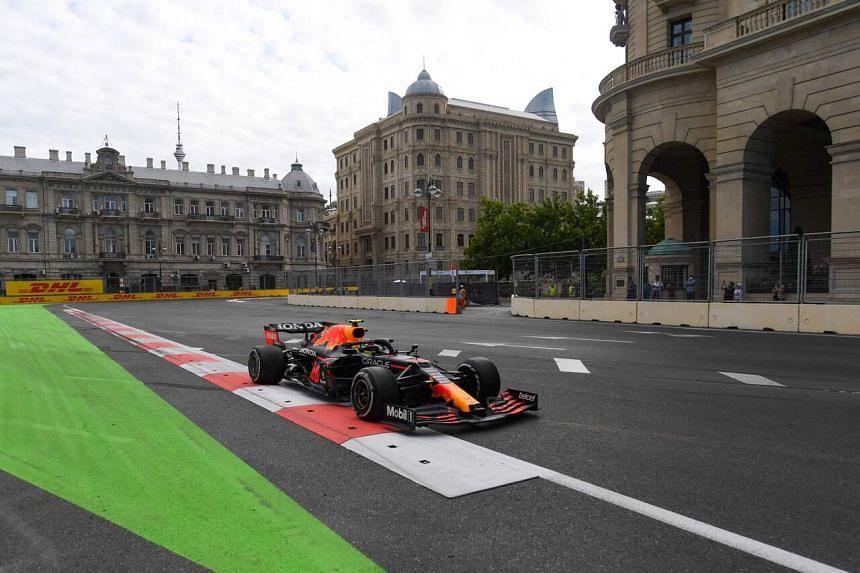 Red Bull's Sergio Perez steers his car during the Formula One Azerbaijan Grand Prix in Baku, Azerbaijan, on June 6, 2021.