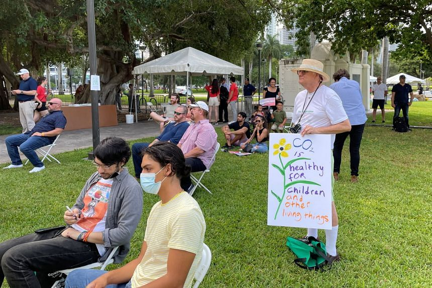 Participants at an American Conservation Coalition conservative climate rally in Miami on Saturday.