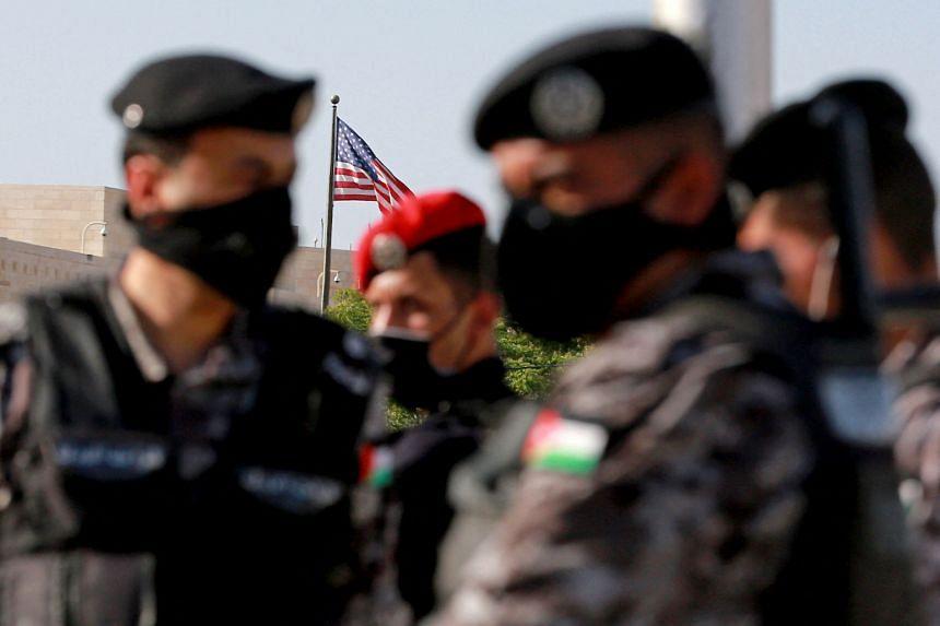 Jordanian police deployed outside the US embassy in Jordan's capital Amman on May 26, 2021.