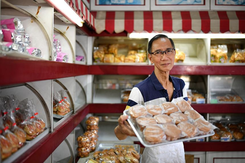Mr Lee Boo Song, 70, has been running Hock Ann Confectionery at Block 46-3 since 1986, selling baked goods.