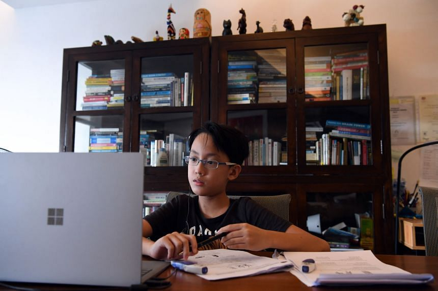 Tan Hua Hao, 12, who attends online tuition with Aspire Hub Education.