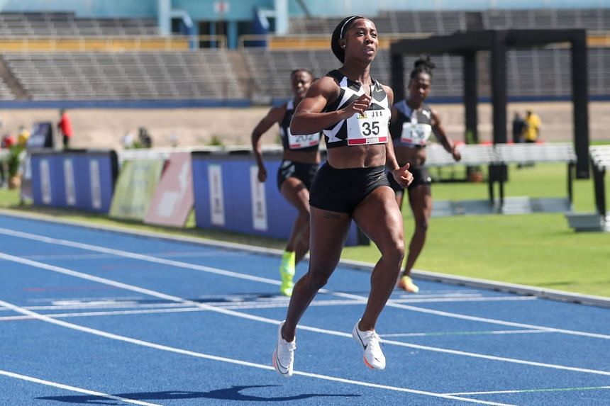 Jamaica's Shelly-Ann Fraser-Pryce in action during the women's 100m.