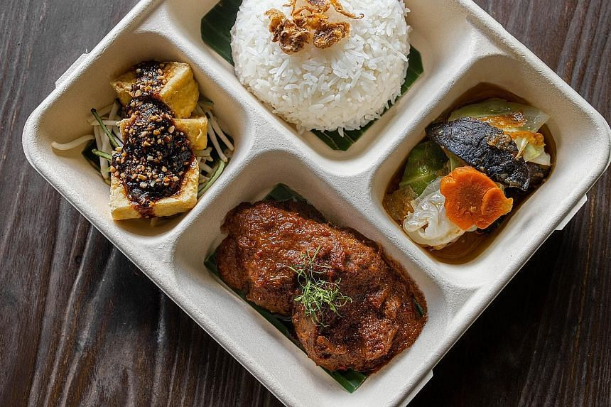 Nonya bento with beef rendang from Violet Oon Singapore.