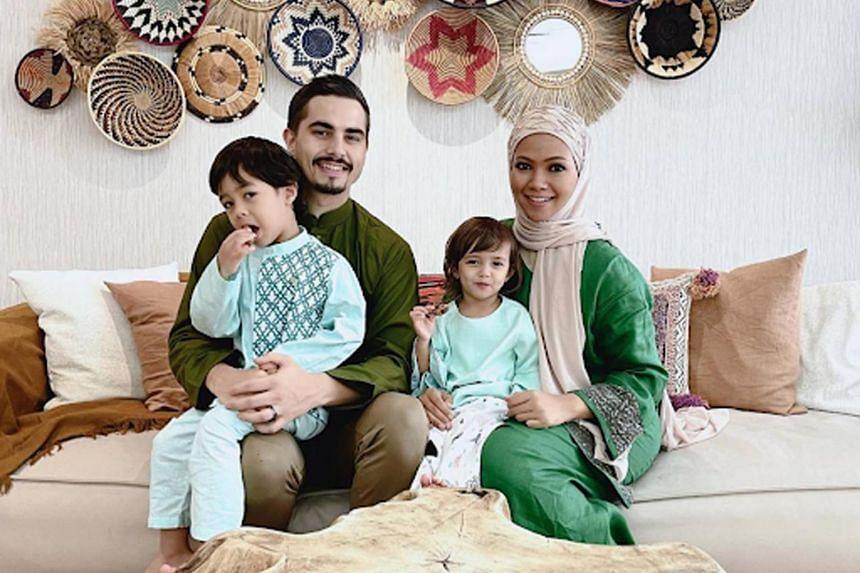 Guillaume Bilal Jeanpierre, Nadiah M. Din, with their children Nahyan Bilal Jeanpierre and Inaaya Bilal Jeanpierre.