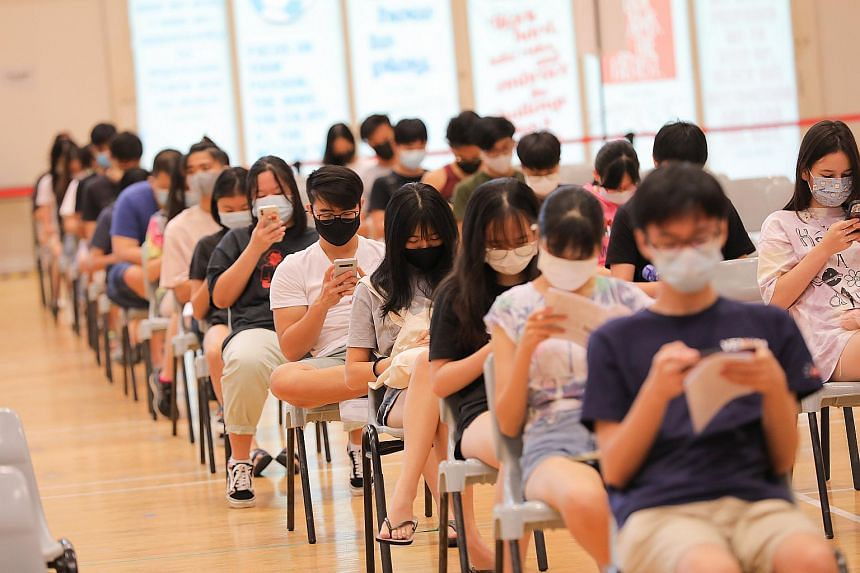 Students at the observation area at the dedicated MOE vaccination centre at ITE College Central, on June 7, 2021.