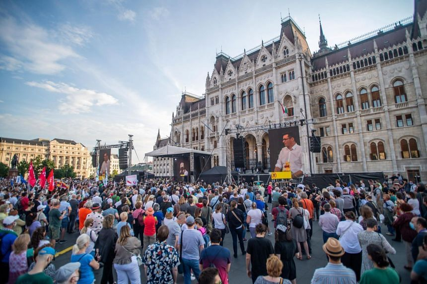 People protesting the Hungary government's plan to build a campus for China's Fudan University in Budapest last Saturday.