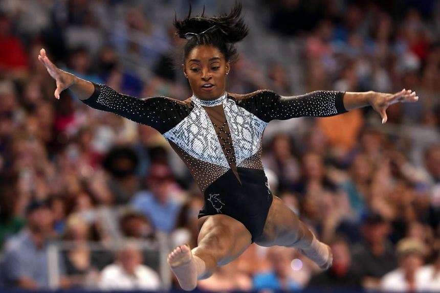 Simone Biles competes in the floor exercise during the Senior Women's competition of the US Gymnastics Championships in Texas, on June 6, 2021.