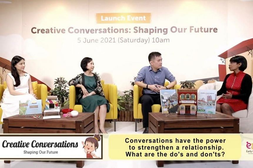 At a plenary discussion at The Creative Conversations: Shaping Our Future virtual launch are (from left) Ms Cheryl Wee, Dr Jacqueline Chung, Dr Jared Ng and Ms Angela Anthony, the emcee for the session.