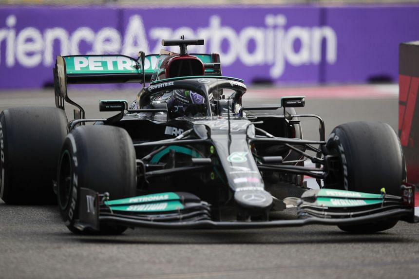 Mercedes' Lewis Hamilton in action during the race in Azerbaijan, on June 6, 2021.