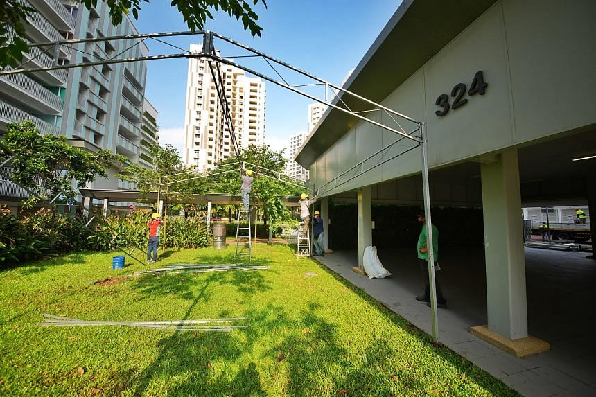Residents of Block 325A Sumang Walk in Punggol will undergo mandatory Covid-19 testing today and tomorrow at the pavilion at Block 324 (above). Earlier cases of Covid-19 at Block 325A were from two different households, and the latest case was a 13-y