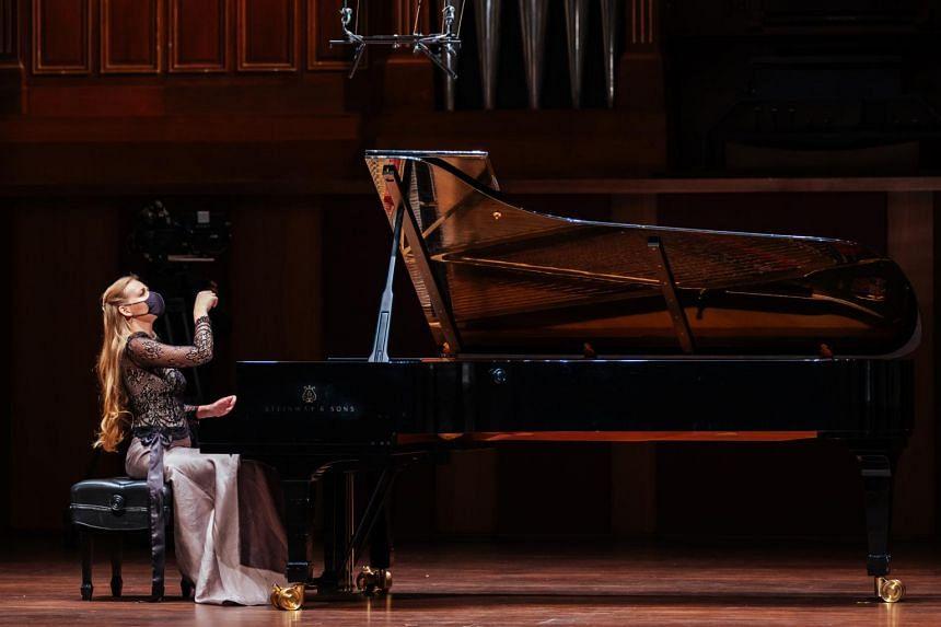 Pianist Kseniia Vokhmianina at the Singapore International Piano Festival.