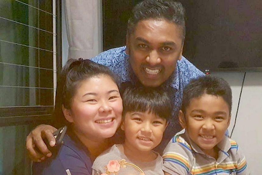 Mr Mahendran Herusan, his wife Camille Tan-Mahendran, and their two children Kierann and Aarann.
