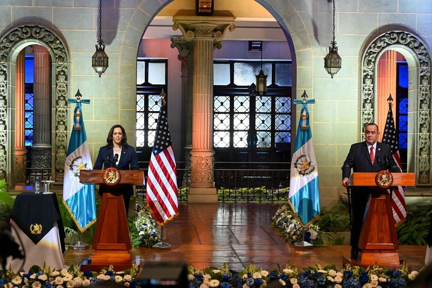 US Vice-President Kamala Harris (left) and Guatemalan President Alejandro Giammattei deliver a joint press conference at the Culture Palace in Guatemala City, on June 7, 2021.