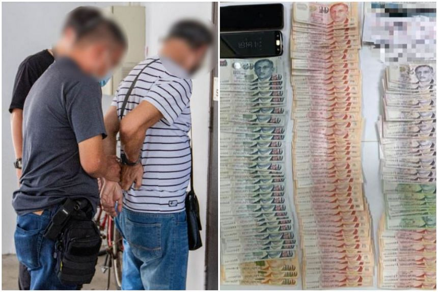 Cash amounting to more than $76,000, several mobile phones, and documents believed to be betting records were seized.