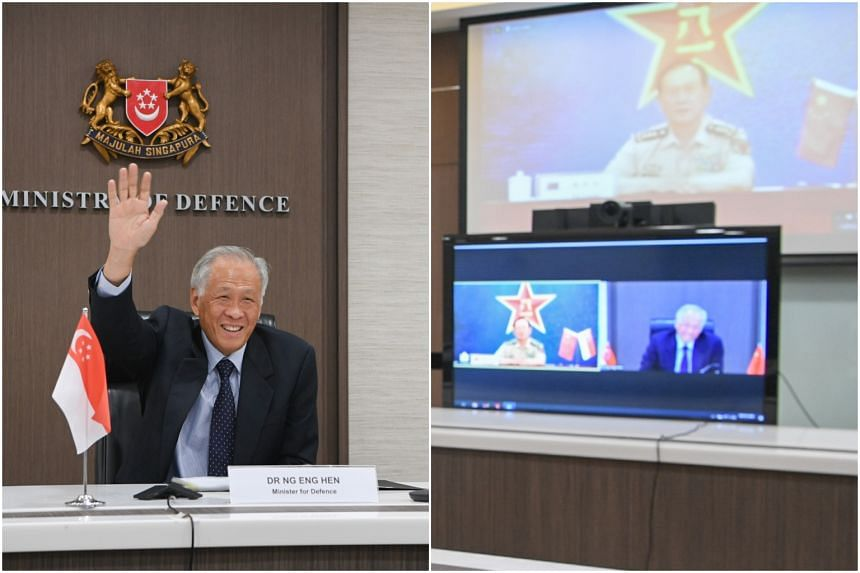 Minister for Defence Dr Ng Eng Hen (left) and Chinese State Councilor and Minister of National Defense General Wei Fenghe conducted a Singapore-China Defence Ministers' video conference on June 8, 2021.