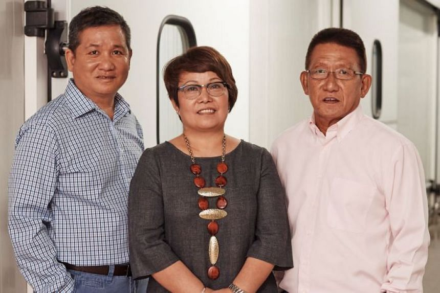 (From left) Managing director Ong Bee Chip, executive director Ong Chew Yong, sales director of Golden Bridge and Ellaziq Singapore Ong Bee Song.