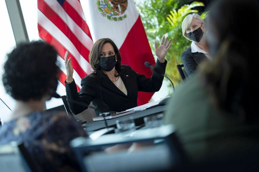 US Vice President Kamala Harris speaks during a meeting with labour leaders in Mexico City, on June 8, 2021.