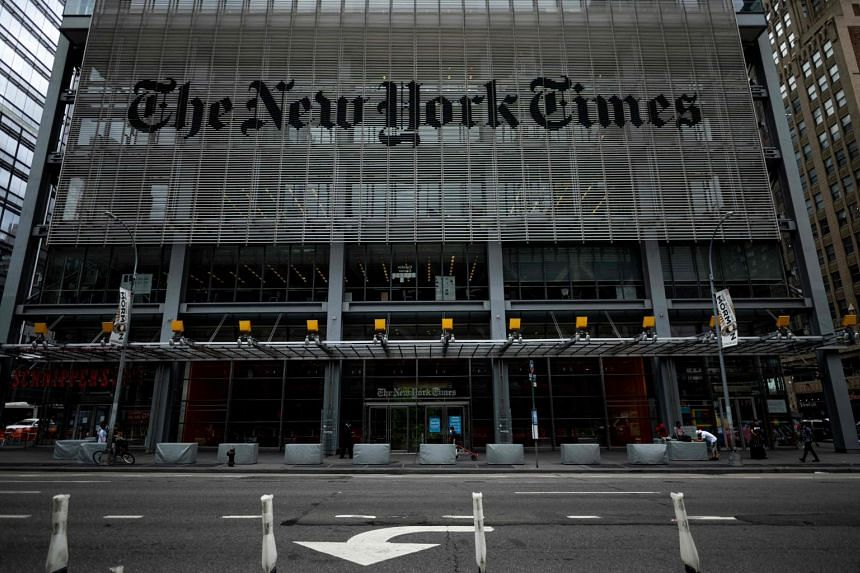 The New York Times building is seen in New York City.