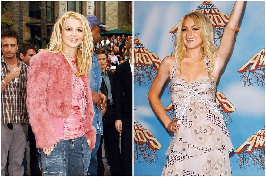 Britney Spears (left) at the Hollywood Walk of Fame in 2003 and Lindsay Lohan at the 2005 MTV Movie Awards.