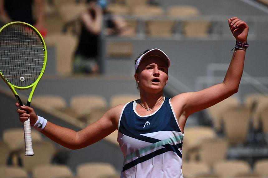 Barbora Krejcikova saved five set points as she recovered from a slow start.