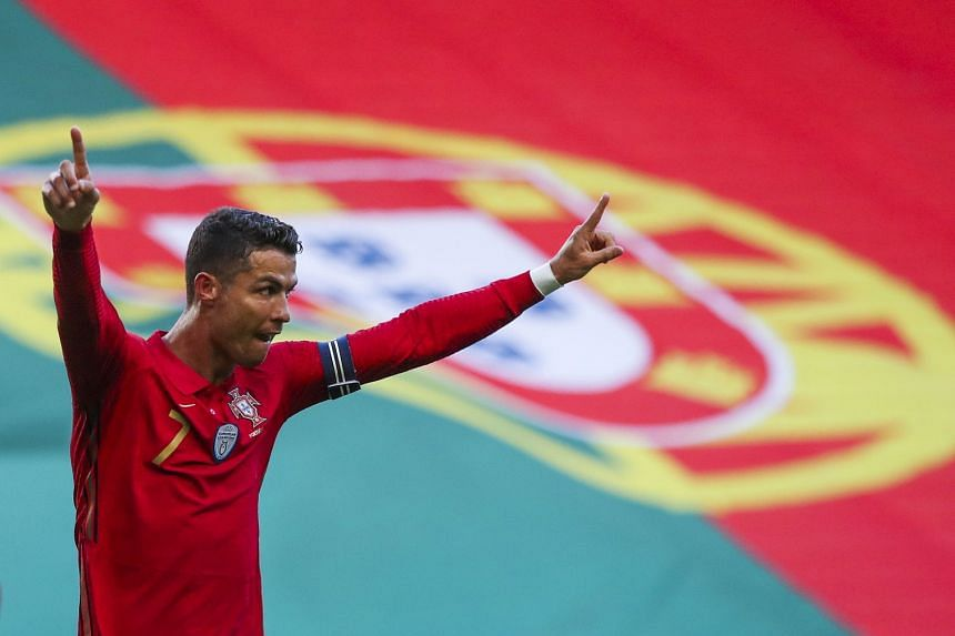 Ronaldo celebrates after scoring for Portugal during their international friendly against Israel.