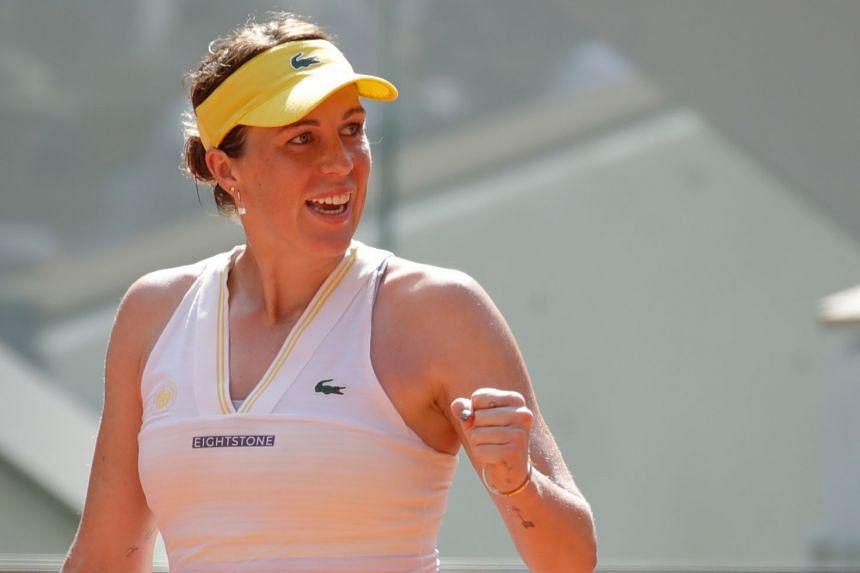 Pavlyuchenkova celebrates winning her semi-final match against Slovenia's Tamara Zidansek.