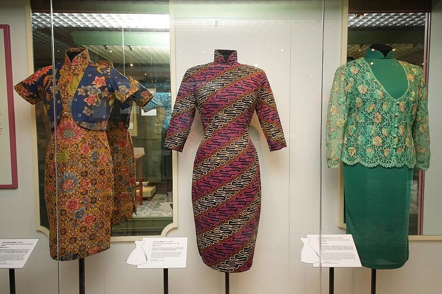 Cheongsams found in Singapore, such as one that is reminiscent of the Malay kebaya and others that use batik.