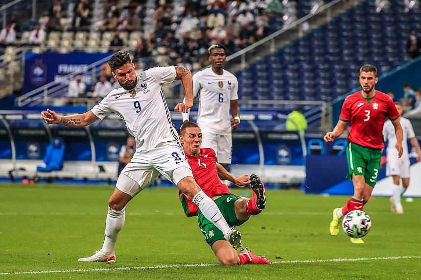 Olivier Giroud scoring the first of his two goals in France's win over Bulgaria in an international friendly on Tuesday. Antoine Griezmann netted the other in the 3-0 victory, a perfect warm-up for the world champions ahead of their opening Euro 2020