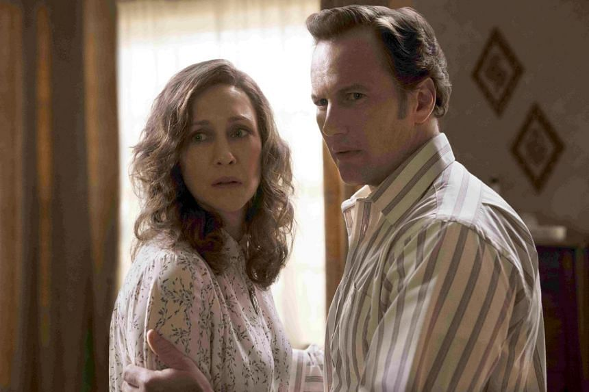 A still from the film The Conjuring: The Devil Made Me Do It, starring Vera Farmiga and Patrick Wilson.