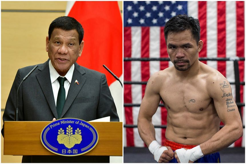 """Mr Rodrigo Duterte (left) was criticised by Manny Pacquiao to be """"lacking"""" and """"disheartening"""" in his stand on the South China Sea."""