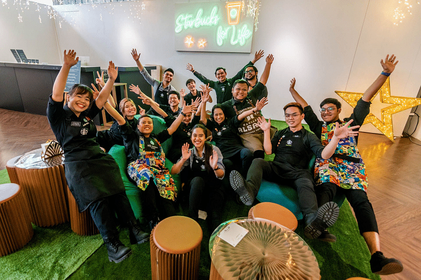 Starbucks employees – whom the company refer to as partners – enjoy numerous work perks and varied training opportunities. This photo was taken before pandemic. PHOTO: STARBUCKS SINGAPORE