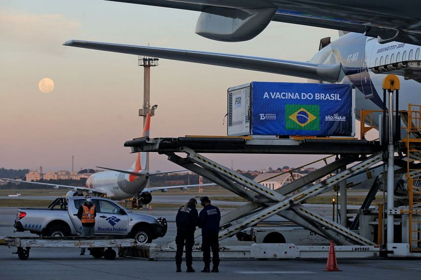 A refrigerated container with supplies to produce Sinovac Covid-19 vaccines arrives at International Airport in Guarulhos, Brazil, on May 25, 2021.