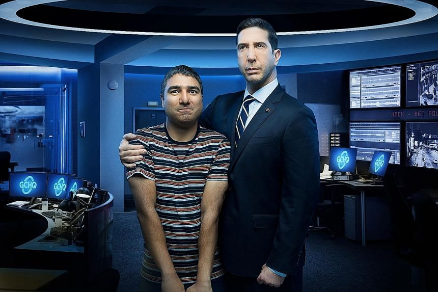 Intelligence show creator and co-star Nick Mohammed (left) plays a British computer analyst who is star-struck by David Schwimmer's (right) American intelligence agent.
