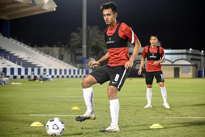 Lions midfielder Shahdan Sulaiman and forward Hafiz Nor at a training session ahead of their final World Cup qualifying match against Saudi Arabia today. They face a tough match against the Group D leaders after recent losses to Palestine and Uzbekis