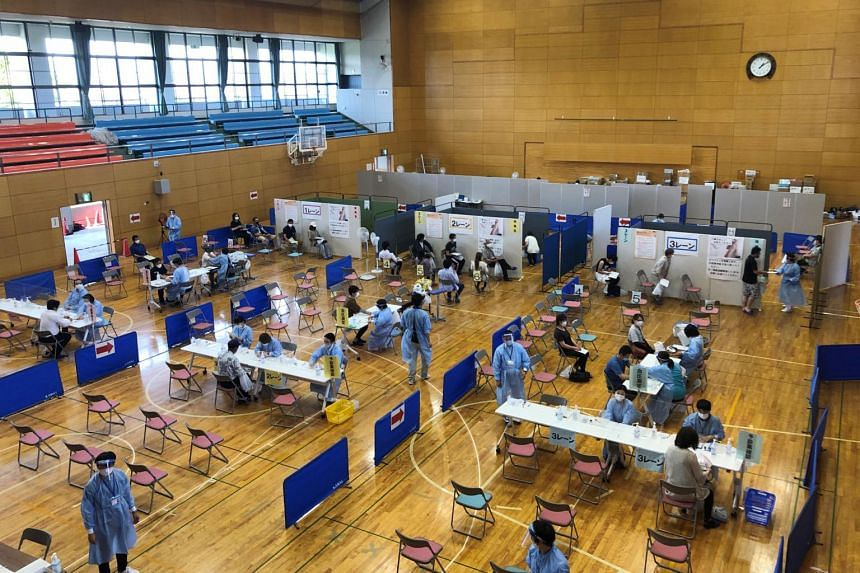 A gymnasium which turned into a mass vaccination centre for the elderly in Soma, Fukushima Prefecture in Japan on June 9, 2021.