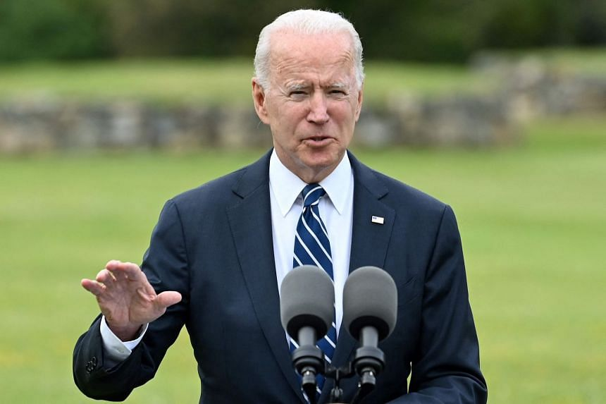 US President Joe Biden delivers a speech on the Covid-19 pandemic, in St Ives, England, on June 10, 2021.