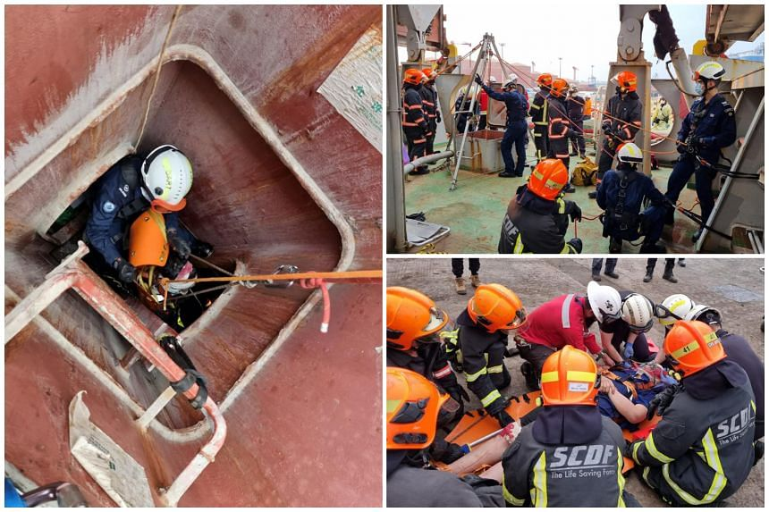 When SCDF officers arrived, the man was being treated by the company's emergency response team.