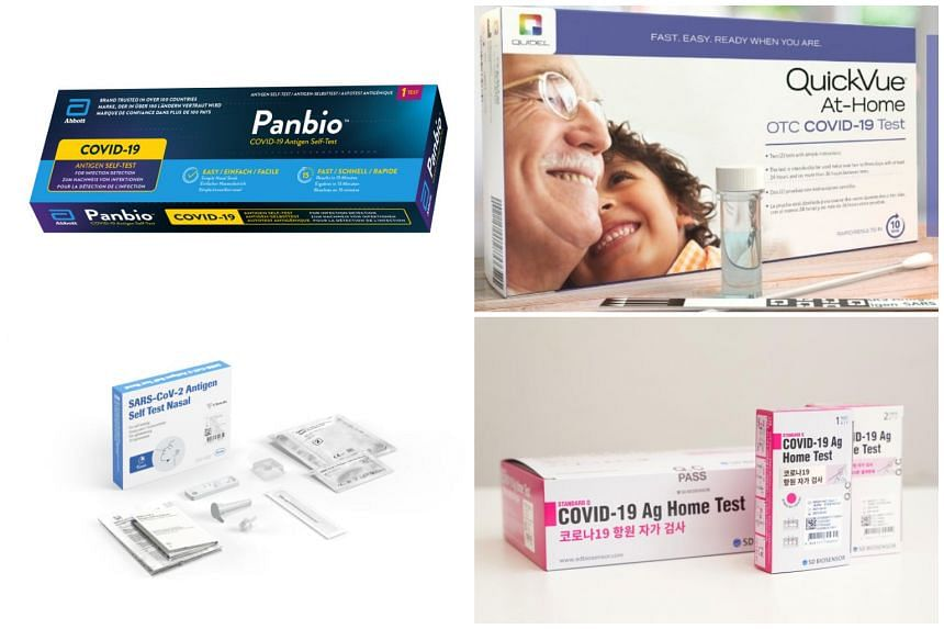 Watsons will be retailing the Abbott Panbio and Quidel QuickVue test kits in phase one of the test kit roll-out. The other two test kits (bottom) granted interim authorisation are from SD Biosensor.