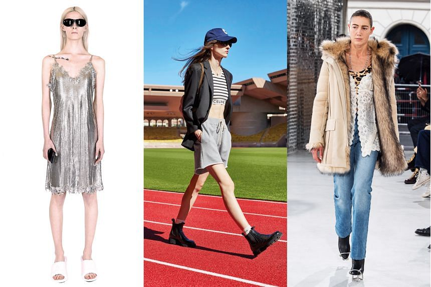 (Left) Balenciaga's silver chainmail slip closely resembles an outfit worn in the 2000s by Paris Hilton. (Centre) Celine designer Hedi Slimane's spring-summer collection captures 2000s style in an off-duty look that is eclectic and seemingly haphazar