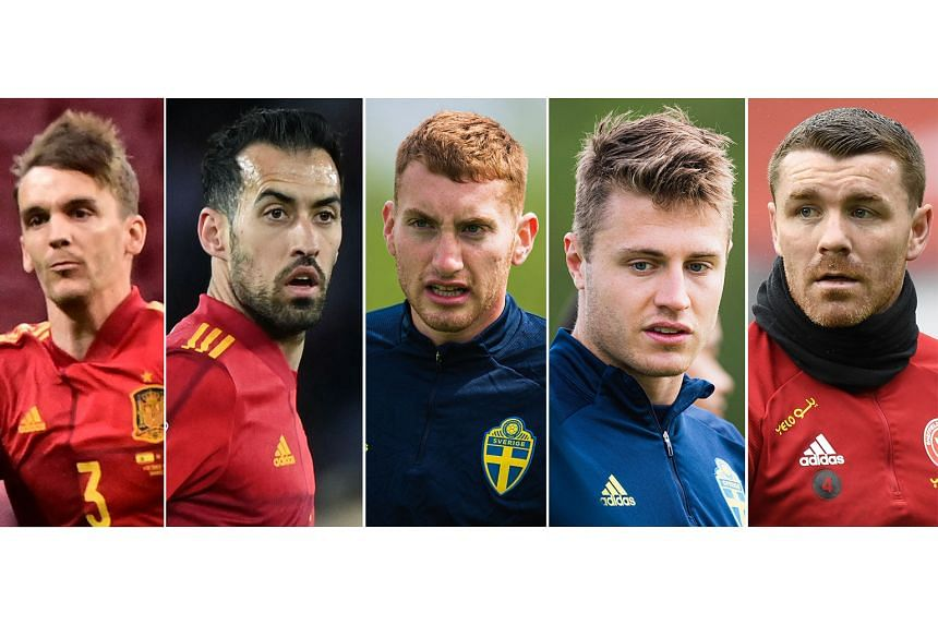 From left: Spaniards Diego Llorente and Sergio Busquets, Dejan Kulusevski and Mattias Svanberg of Sweden, and Scotland's John Fleck have all tested positive for Covid-19 in the build-up to Euro 2020.
