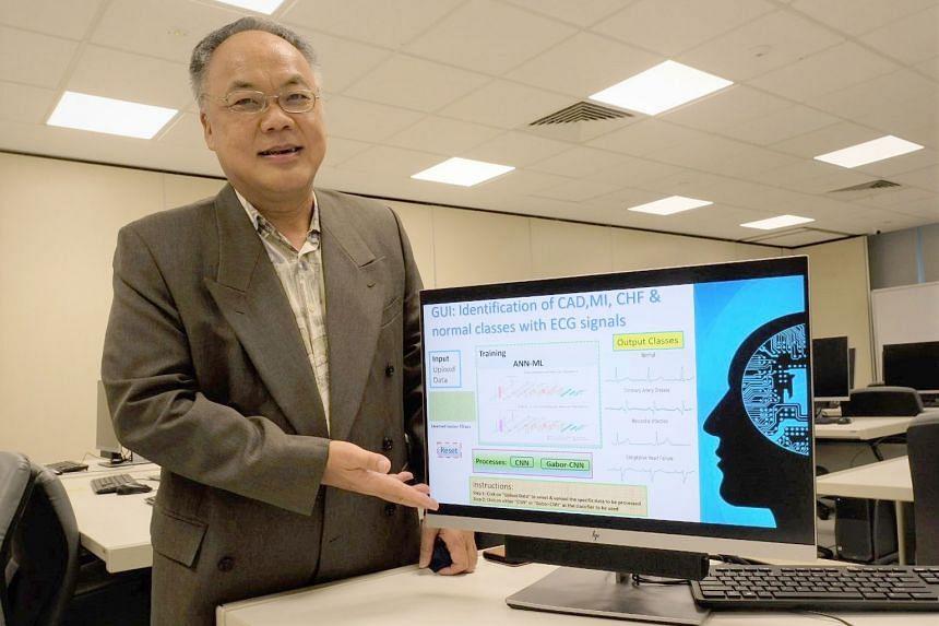 Associate Professor Tan Ru San (above) from National Heart Centre Singapore co-authored the study. NTU's Associate Professor Eddie Ng Yin Kwee (left), who co-led the study, showing illustrations of how the diagnostic AI tool works.