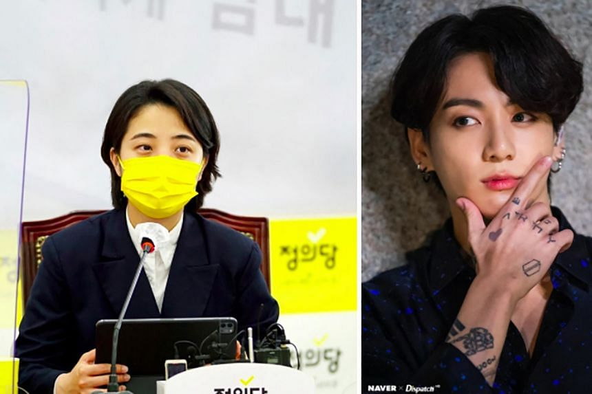 Justice Party MP Ryu Ho-jeong (left) used photos of BTS member Jungkook (left) in her campaign to allow trained tattooists to be legally certified.