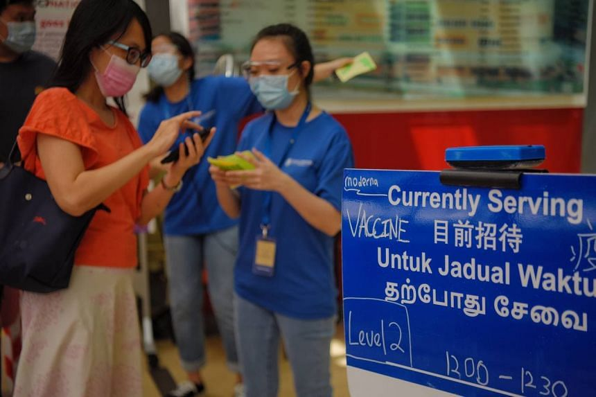People at the vaccination centre at Buona Vista Community Club on June 11, 2021.