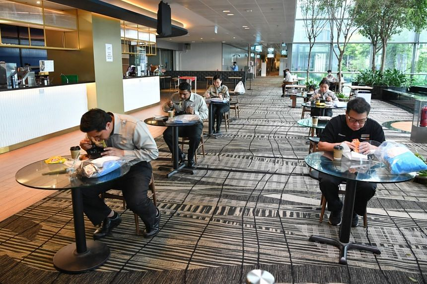 A dedicated area for workers to eat and rest at Changi Airport Terminal 3.