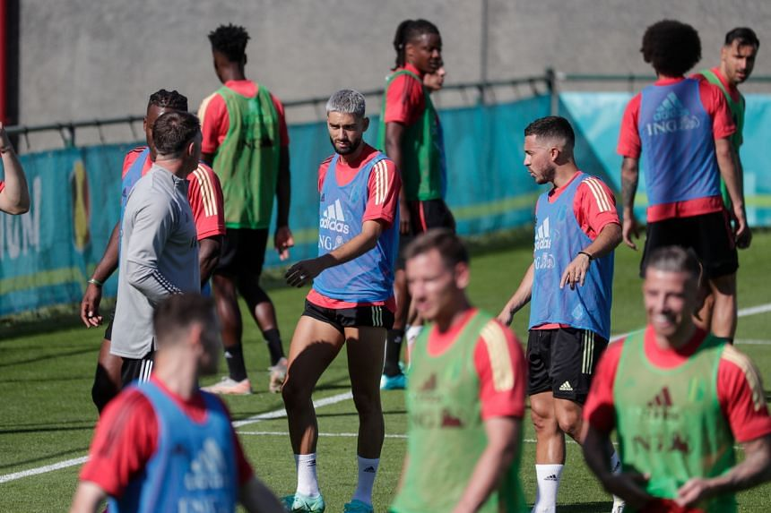 Belgium's national football team players attend a training session as part of the preparations for Euro 2020 in Tubize, Belgium, on June 10, 2021.