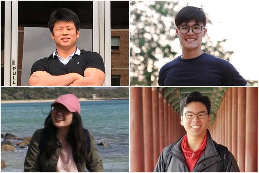 (Clockwise from top left) Students Joseph Tan, Sun Yuchen, Chris Gan, and Audrey Chan expressed optimism about the travel bubble.