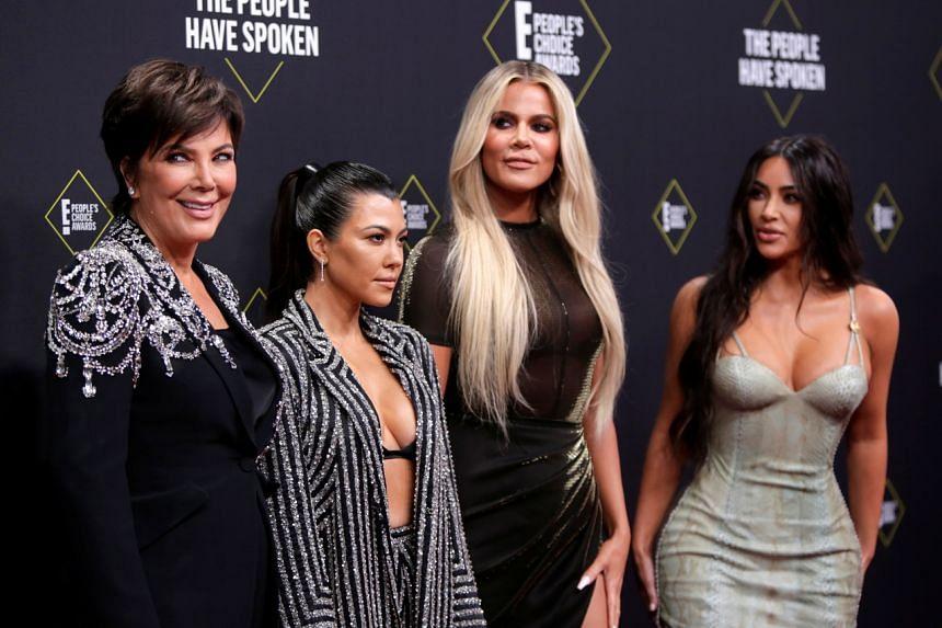 (From left) Kris Jenner, Kourtney Kardashian, Khloe Kardashian and Kim Kardashian at the People's Choice Awards in Santa Monica, California, on Nov 19, 2019.