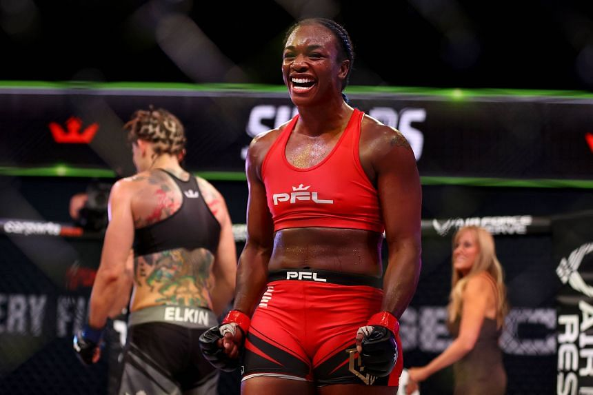Claressa Shields celebrates her win over Brittney Elkin during the lightweight bout in Ovation Hall at Ocean Casino Resort, on June 10, 2021.