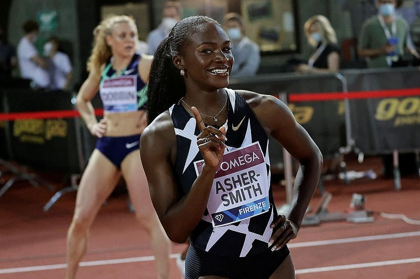 Britain's Dina Asher-Smith ran 22.06sec to win the 200m race at the Diamond League on Thursday. She is aiming for Olympic gold in Tokyo.