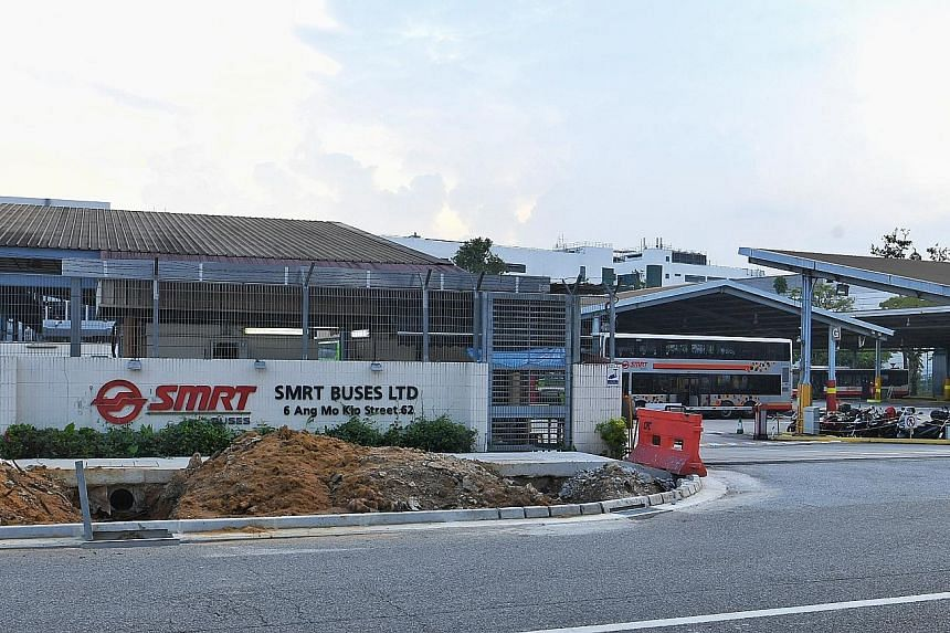 The automotive services commercial repair centre at Ang Mo Kio SMRT bus depot. One technician was killed and another injured when a car jack supporting a minibus they were working on gave way.